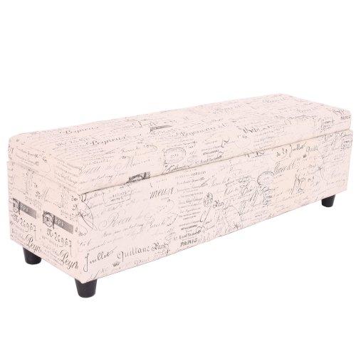 Mendler Panca contenitore Kriens tessuto 112x45x45cm avorio con scritte