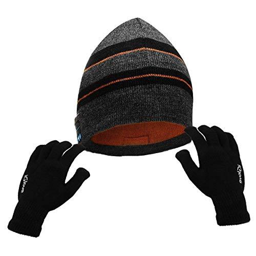 Powcan Muziekpet + aanraakgevoelige scherm handschoenen Bluetooth muts hoed voor unisex breien muziek cap met draadloze stereo hoofdtelefoon, voor outdoor sport