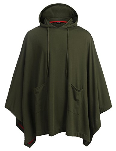 COOFANDY Unisex Casual Hooded Cloak Poncho Cape Coat With Pocket Army Green Medium