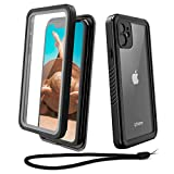 WIFORT iPhone 11 Waterproof case, Full Body Sealed Protection Built in Screen Protector, Rugged Snowproof Shockproof Dusproof Case with Impact Bumper for iPhone 11 (2019, 6.1 inch), Black + Clear