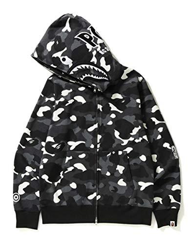 FKAO Bape Ape 2020 Sudadera con Capucha de tiburón, Chaqueta de Hip Hop, Moda Unisex, suéter Informal de Hip Hop para Adolescentes y Adultos, Chaqueta con Cremallera Completa-Negro_L