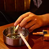 DUOUPA 4 Stücke Edelstahl Aschenbecher 10cm Durchmesser Windschutz Aschenbecher Moderne Tischplatte Aschenbecher Basis für Home Office Innenraum und Draußen - 5