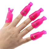 IME Nagellackentferner Clips Set, Nails Art Gel Cap Einweichen Clip UV Maniküre Tränken Weg Nagel-Clips Gel Polish Entferner Wrap Tool Roserot 10 Stk