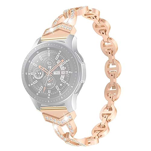 JINGLIANG Qw Galaxy Reloj for 22mm Banda de Reloj de Pulsera de OV Diamond (Negro) (Color : Rose Gold)