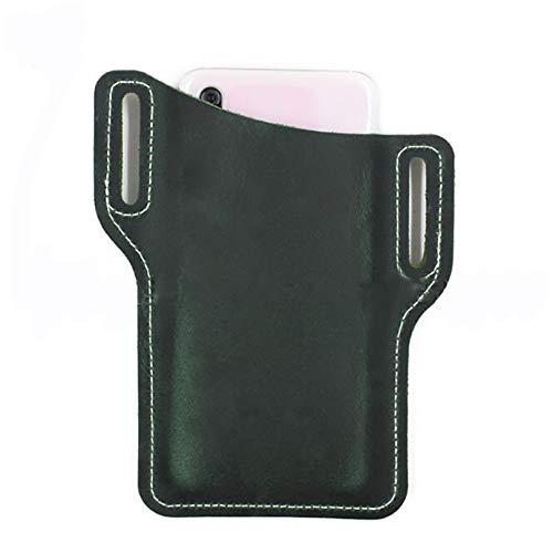 Eleusine Handy PU Ledertasche Gürtel Tasche, Handy Träger Gürtel Tasche, PU Leder Taille Gürtelschlaufe Handy Handy Schutz Tasche Tasche Holster (grünes Leder)