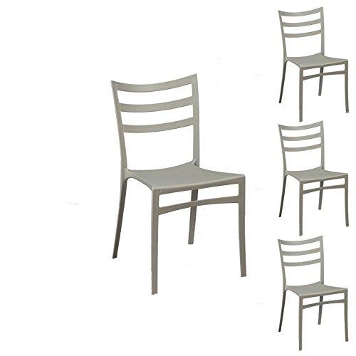 Tousmesmeubles Quatuor de chaises Gris Clair - MYA - L 51 x l 47 x H 86 - Neuf