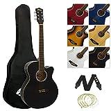 Tiger ACG4-BK Full-Size Elektro-Akustische Gitarre, Paket für Anfänger, mit eingebautem Tuner und EQ - Schwarz