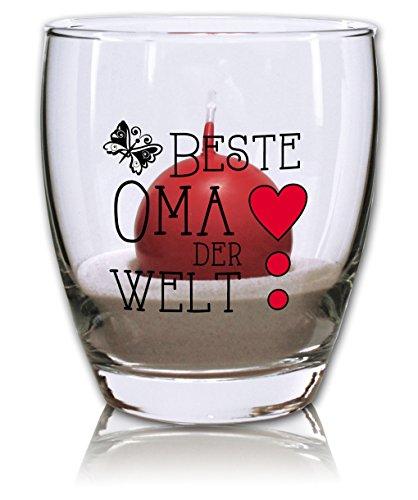 PorcelainSite Geschenkideen GmbH Windlicht mit Sand und Kerze rot - Beste Oma der Welt