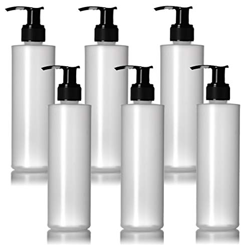 6 Pack 8 Oz Plastic Pump Dispenser Bottles for Lotion, Massage Oil, Shampoo and More! - Refillable, BPA Free Clear / Frosted Empty 8oz Containers - Fit Into Holsters, Bulk
