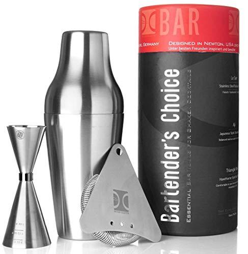 The Elan Collective Cocktail Shaker Set Edelstahl mit Barsieb und Barmass 4 teilig, spülmaschinenfest - Bartender's Choice