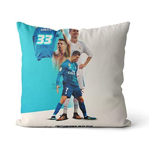 Cojín de algodón y lino de alta calidad Cristiano RonaldoFootball Jugador Superstar beige de lino cojín OR1231 cojín 45 x 45 cm