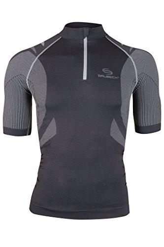 Brubeck Maillot de cyclisme à manches courtes avec réflecteurs et poche dorsale Noir Noir/Gris SMALL