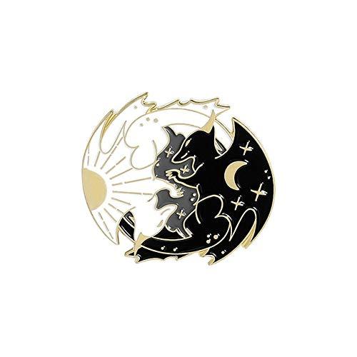 Giorno e Notte Smalto Pin Personalizzato Sole Luna Volpe Koi Coniglio Pipistrello Lupo Spilla Sacchetto Vestiti Spilla Spilla Distintivo Animale Stellato Gioielli Regalo