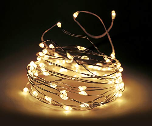 LED Draht Lichterkette mit Timer und 8 Funktionen - warmweiß - Innen und Außen Draht Lichterkette mit Batterie betrieb (795 cm - 160 LED)