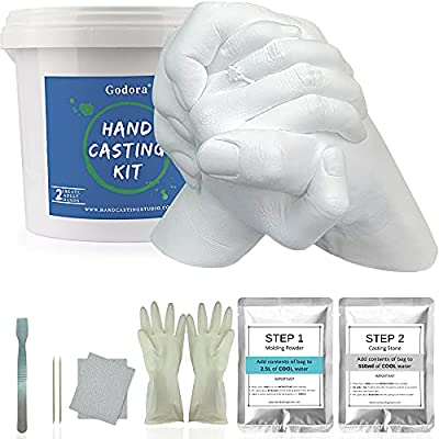 Hand Casting Kit Couples & Keepsake Hand Mold kit Couples for Anniversary Gift and Holiday Activities, Molding Kits for Adults, Child, Wedding, Friends, Plaster Hand Mold Casting Kit by Godora