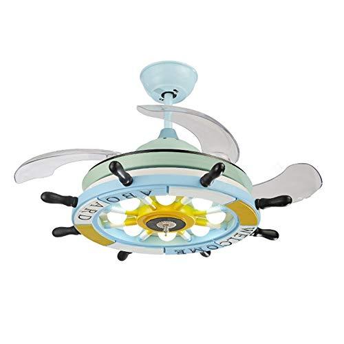 FUSKANG Sala de 36/42 Pulgadas Ventilador de Techo Infantil con iluminación, 4 retráctil Blades, Accesorio de iluminación de LED [Clase energética A ++] (Color : A, Size : 42 Inch)