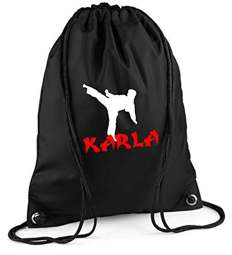 Gymtas met naam | motief karate vechtsport | incl. naam opdruk | personaliseren & bedrukken | sporttas schoentas zwart voor jongens