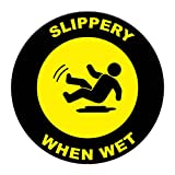 Slippery When Wet Floor Decals Yellow Black Anti-Slip Round Shape A Lifestyle Industrial Signs Stickers 17Inches Longer Side