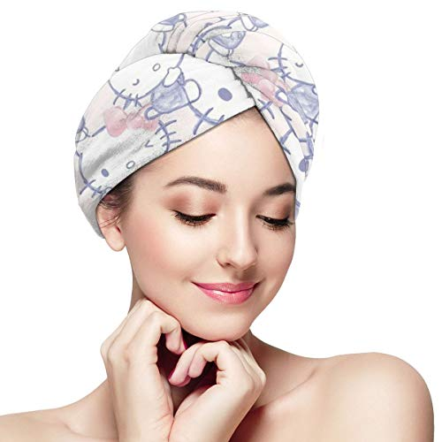Hair Towel Wraps For Women Girl, Hello Kitty Microfiber Salon Towel, Anti Frizz Fast Dry Bath Loop Fasten Salon Dry Hair Hat Turban Twist