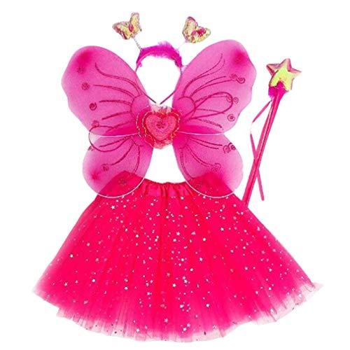 mama stadt 4 PCS Hada Disfraz Alas de Mariposa Niña Conjunto de Carnaval, Falda de Tul + Alas de Mariposa + Varita Mágica + Diadema para 3-10 años