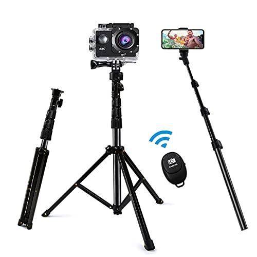 YT Lonni 自撮り棒 三脚 Bluetooth スマホ 三脚 カメラ三脚 セルカ棒 軽量 無線 三脚 一脚兼用 360度回転 4段伸縮 折りたたみ リモコン付き 持ち運びに便利 iPhone Android スマホ カメラ gopro アクションカメラに対応