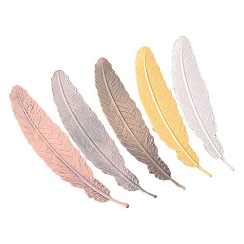 TOYMYTOY 5Pezzi Segnalibro a forma di piume colorate in metallo acciaio Inox Set per regalo