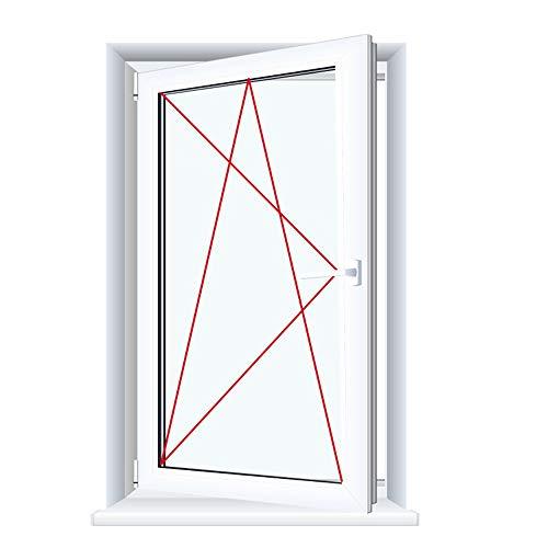 Drutex Kunststofffenster weiß Dreh Kipp Anschlag:DIN Links, Glas:3-Fach, BxH:1100x1400