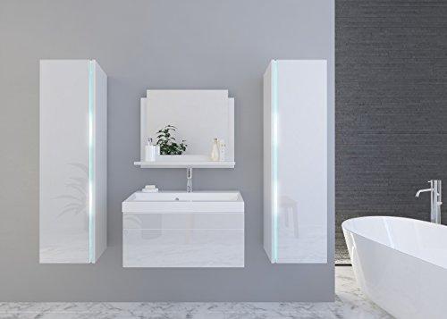 Home Direct Jenny 3 Modernes Badezimmer Bademöbel Badeschränke (Weiß MAT Base/Weiß HG Front, LED RGB 16 Farben)