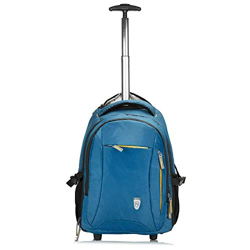 "Novex Pacific Water Resistant 15.6"" Laptop Roller Case Trolley Backpack 35 Litre - Blue / Backpack Trolley"