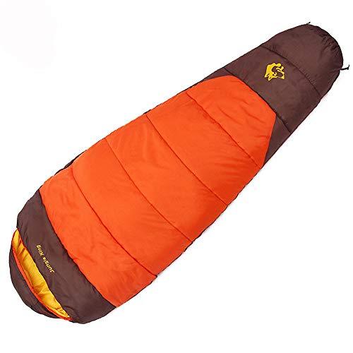 PASLWSSY Invierno Pesado Relleno Hueco del algodón de Dormir Que acampa Bolsas, Viaje Ligero al Aire Libre del Alpinismo con Mochila Especial 1700g Bolsas de Deporte,Naranja