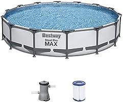 Bestway Steel Pro MAX Above Ground Pool Set with Filter Pump Diameter 427 x 84 cm Grey Round