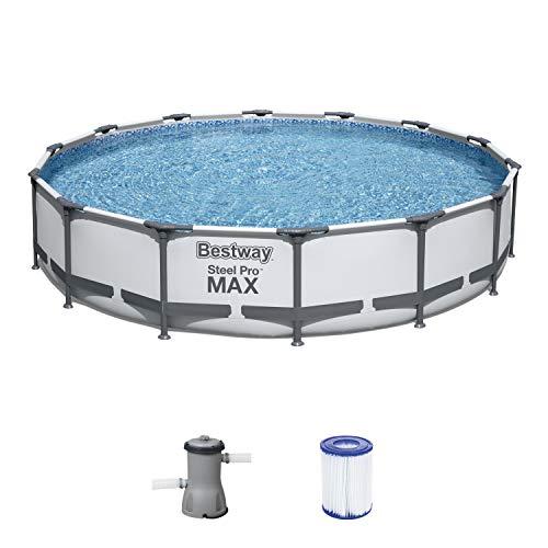 Bestway Steel Pro MAX Aufstellpool-Set mit Filterpumpe Ø 427 x 84 cm, grau, rund