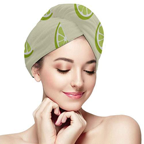 QHMY Vert Citron Vert Citron Fruits Séchage des Cheveux Chapeau Enfants Séchage des Cheveux Serviette en Microfibre Doux Absorbant Séchage Rapide Cheveux Turban Cheveux Wrap Serviettes pour Femmes Se