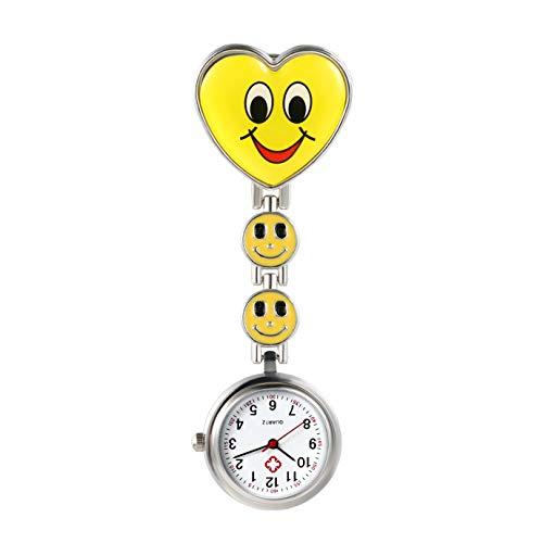 Avaner Schwesteruhr Analog Quarzwerk Pflegeruhr Ansteckuhr mit Clip Hanging Medical Taschenuhr FOB-Uhr Smiley-Herzform für Damen Krankenschwester Arzt Doktor AN019-12