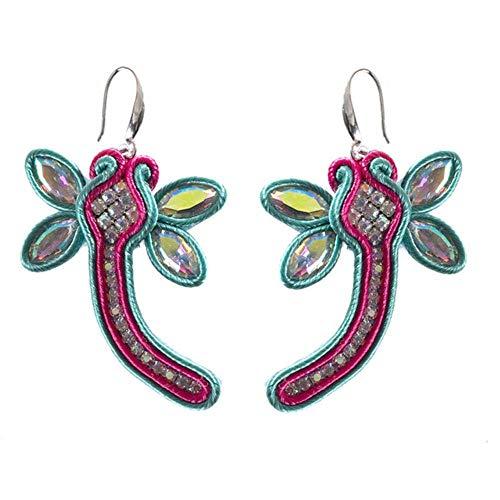 Gymqian Drop Earrings Women Drop Earrings Jewelry Female Soutache Handmade Ethnic Style Earring Dark Blue Exquisite/Blue/Red