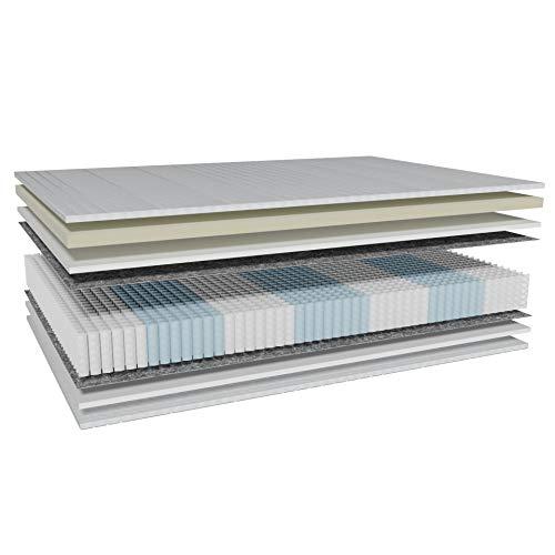 AM Qualitätsmatratzen - Premium Latex-Matratze 160x200cm H2-1000 Federn - Taschenfederkernmatratze - Matratze mit integrierter 4cm Latex-Auflage - 24cm Höhe - Made in Germany