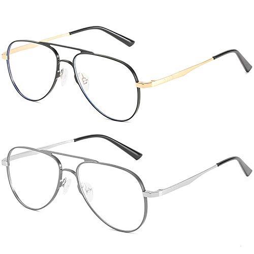 Pack de 2 Gafas con Bloqueo de luz Azul Juego de computadora Gafas Lentes enormes Marco de anteojos Gafas para Juegos de Lectura Anti-Fatiga Ocular para Mujeres y Hombres,D