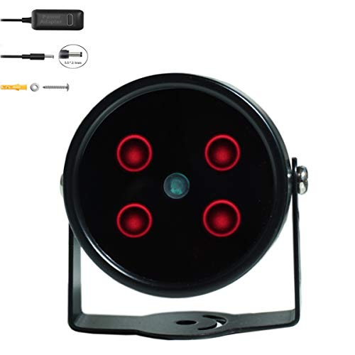 JC IR Illuminator 4-Led High Power IR Light Wide Angle for Night Vision CCTV and IP Camera Black with Power Adapter