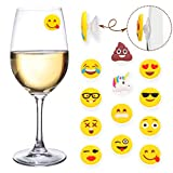 MelonBoat Poop Unicorn Emoji Wine Charms for Glasses, Universal Drink Markers with Suction Cup, 12 Pack