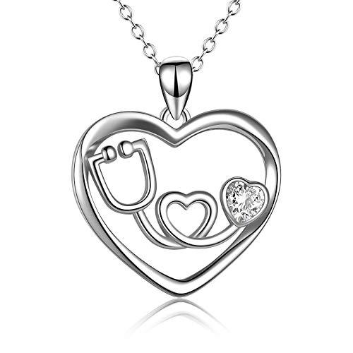 Collar con estetoscopio de plata de ley con diseño de corazón, joyería temática de enfermería, regalo para enfermera y doctora