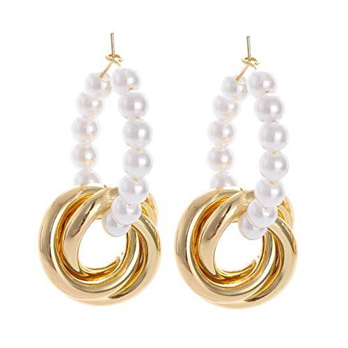 Parel ring gedraaide gouden buis cirkel oorbellen mode temperament lange oorbellen persoonlijkheid wilde oorbellen