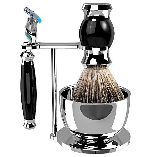 Set da barba GRUTTI, rasoio cromato di lusso e portaspazzolino con portasapone Regali per uomo Pennello da barba in tasso e manico di rasoio compatibili con Fusion 5 (Salute e Bellezza)