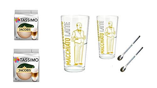 Tassimo Jacobs Krönung Latte Macchiato, 2er Pack (2 x 8 Portionen) Tassimo Latte Macchiato classico + 2 Latte Gläser von James Premium