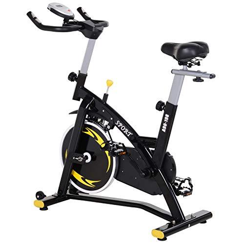 HOMCOM Bicicleta Estática Profesional Bicicleta Fitness con Pantalla LCD Asiento e Intensad Ejercicio Regulables Resistencia Magnética 47x120x104.5-117cm