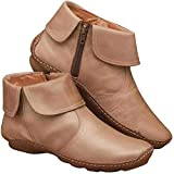 Womens Arch Support Ankle Boots Retro Side Zip Leather Booties Comy Flats Snow Boots