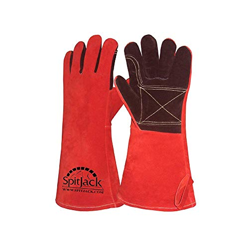 SpitJack Heat Resistant Fire Protection Gloves for Grill, Welding, Fireplace Cooking, Wood Stove, Oven and BBQ