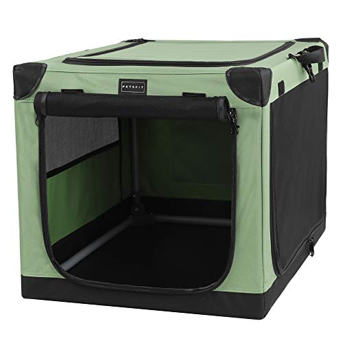 Petsfit Portable Soft Medium Dog Crate Indoor and Outdoor Crate for Pets for Medium Dog Green 30 x 20 x 19 Inches