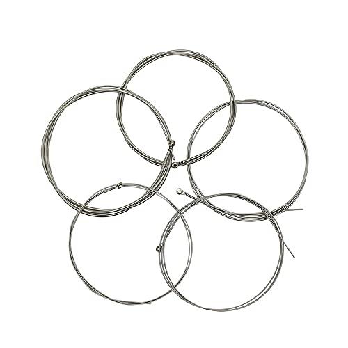 WGOEODI 5 Unids/Set Cuerdas de Bajo Eléctrico, Núcleo de Acero Niquelado Aleación de Acero Núcleo Herida Accesorios de Cuerda de Bajo, Plateado