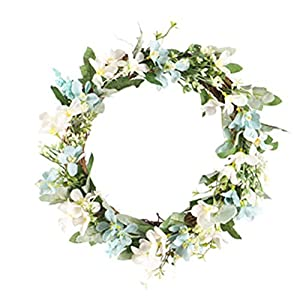 XINNI Artificial Handmade Floral Flower Greenery Wreath with Camellia Hydrangea Rose Vine Pendant Garland for Front Door Wall Decoration Marriage Wedding Backdrop Party Home Decor