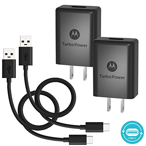 Motorola TurboPower 15+ QC3.0 Wall Chargers with USB-C Cables for Moto X4, Z2 Force/Play, Z3 Play, Z4, G7,G7 Play,G7 Plus, G6, G6 Plus[Not G6 Play] Type C Devices (Retail Box), [2 Pack, 3.3ft Cables]